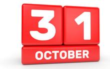 October 31. Calendar On White ...