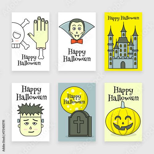 Fotografie, Obraz  Halloween posters set