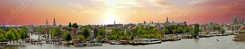 Panorama from the city Amsterdam in the Netherlands at sunset