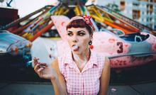 Pin Up Girl In Fun Park
