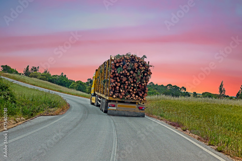 Plakat Przewozi samochodem z drewnianym jeżdżeniem w wsi od Portugalia przy zmierzchem