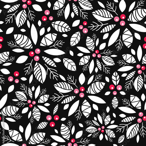 Cotton fabric Vector holly berry black, white, red holiday seamless pattern background. Great for winter themed packaging, giftwrap, gifts projects.