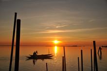 Fishermen To Burano At Sunset
