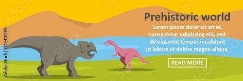 Fotomural Prehistoric dino world banner horizontal concept
