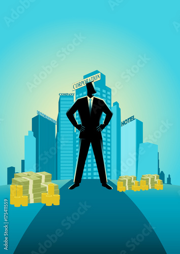 Fotografie, Obraz  Businessman standing in front of commercial buildings and offices