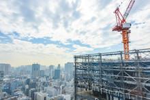 東京都心のビル建設現...