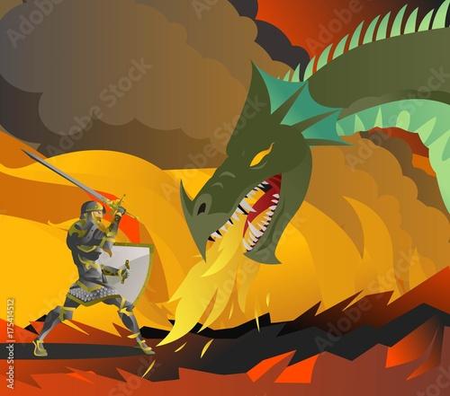 Plakat rycerz walczący ze smokiem