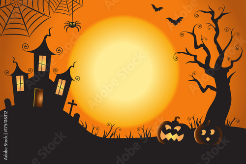 Photo Halloween Spooky Nighttime Scene Horizontal Background 1