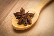 Star Anise With Wooden Spoon O...