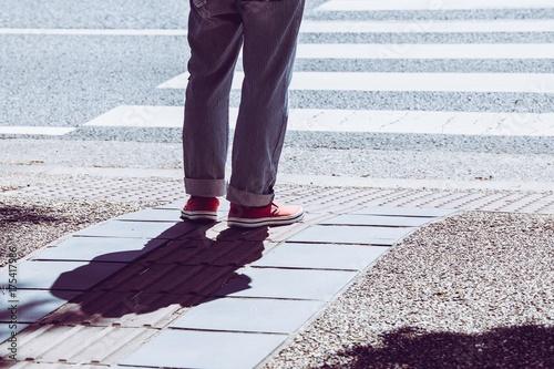 Plakat Męska stopa czeka na sygnał