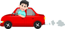 Handsome Driver Cartoon Up Red...