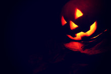 Jack-o'-lantern Pumpkin On Bla...