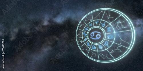 In de dag Kinderkamer Light symbols of zodiac and horoscope circle, Cancer Zodiac Sign