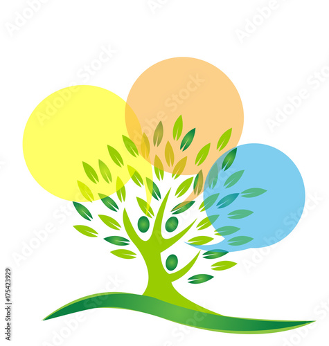 Foto  Environment tree people cleaning icon vector