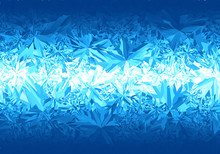 Winter Blue Frost Pattern On White Background