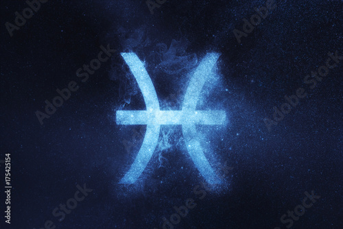 Fotografering Pisces Zodiac Sign . Abstract night sky background