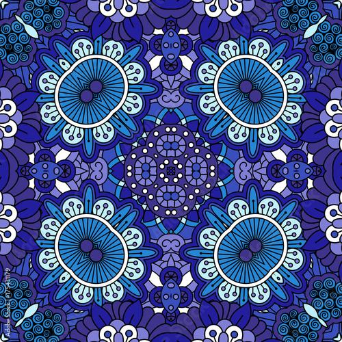 Fototapeta Kwiecisty błękitny dekoracyjny doolde tło