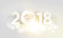 New Year Calendar Label. Sign 2018 Over Gray Bokeh Background. Vector Illustration.