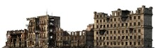 Ruined Buildings Isolated On W...