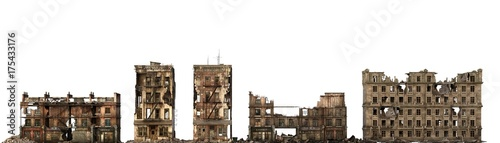 Fotografie, Obraz Ruined Buildings Isolated On White 3D Illustration