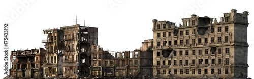 Photo Ruined Buildings Isolated On White 3D Illustration