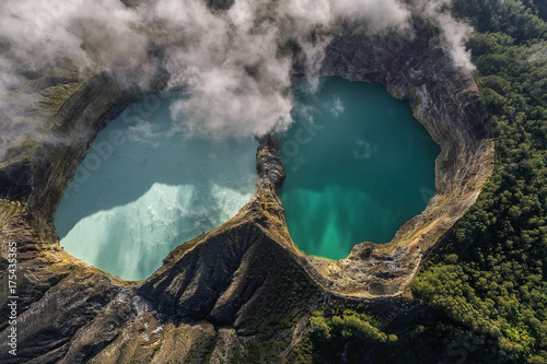 Poster Taupe Panoramic Aerial view of Kelimutu volcano and its crater lakes, Flores, Indonesia