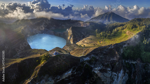Poster Scandinavie Panoramic Aerial view of Kelimutu volcano and its crater lakes, Flores, Indonesia
