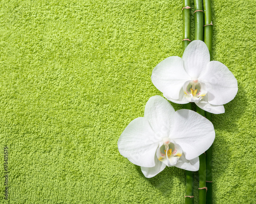 Tuinposter Spa Two orchids and branches of bamboo lying on light green terry towel. Viewed from above.