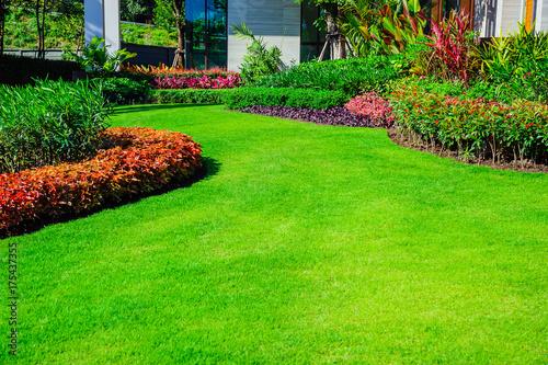 Fotografie, Obraz  Landscape formal, front yard is beautifully designed garden.