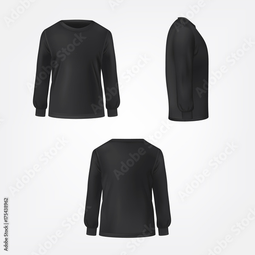 Black jumper with crew neck and long sleeve in three sides view realistic vector set isolated on white background фототапет