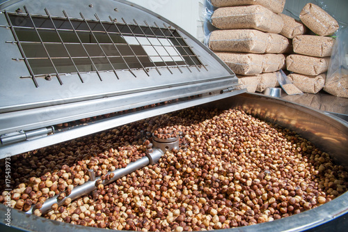 The processing of dry fruit: shelled hazelnuts inside the machine for the peelin Wallpaper Mural