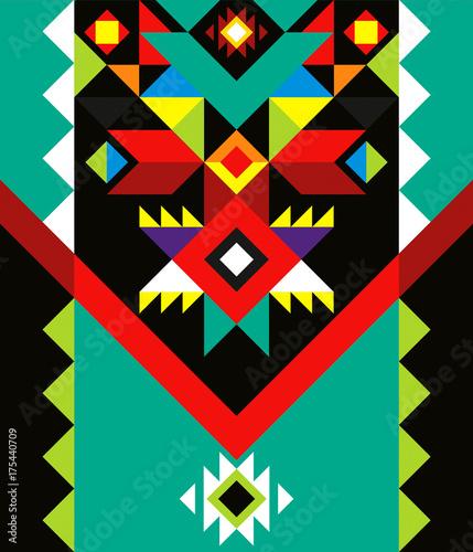 Valokuvatapetti aztec pattern colorful