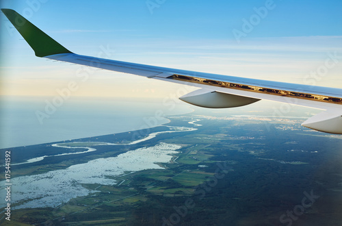 Fototapety, obrazy: View from airplane window on the sea and coastline in Estonia, Tallinn.