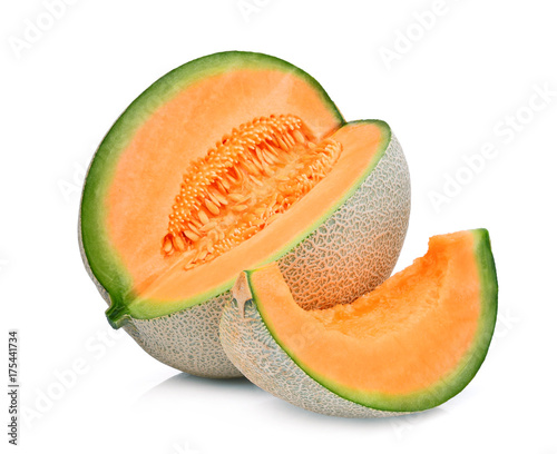 slice of japanese melons, orange melon or cantaloupe melon with seeds isolated on white background