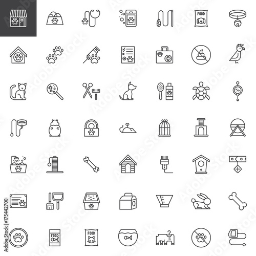 Foto  Pet shop accessories line icons set, outline vector symbol collection, linear style pictogram pack
