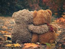 Two Teddy Bear Hugging Each Ot...