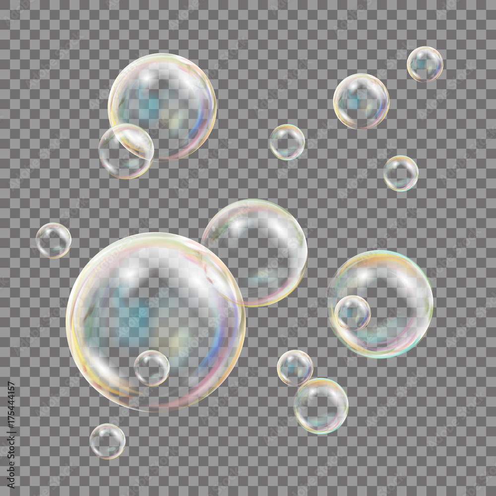 Fototapety, obrazy: Transparent Soap Bubbles Vector. Colorful Falling Soap Bubbles. Isolated Illustration