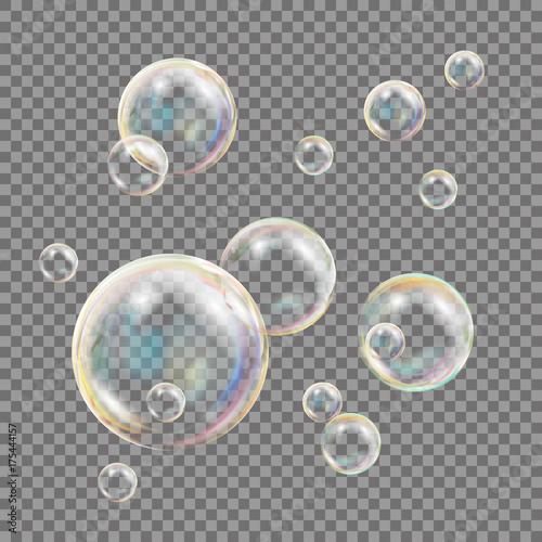 Fototapeta Transparent Soap Bubbles Vector
