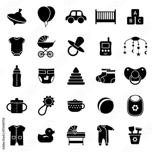 6689bbc9f0 Baby toys, clothes and other items. Collection black simple symbols for  newborn kids on white background.