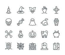 Halloween Icons, Monoline Concept. The Icons Were Created On A 48x48 Pixel Aligned, Perfect Grid Providing A Clean And Crisp Appearance. Adjustable Stroke Weight.