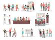 Office Team Building Concepts Illustrations Set