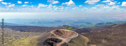Photo sur Toile Cappuccino Volcano Etna in Sicily, Italy