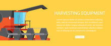Harvesting Equipment Web Banner With Text Vector