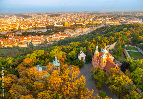 Poster Northern Europe Prague city panorama. Aerial view of Petrin hill park and Vltava river from Petrin lookout tower, Prague, Czech Republic.