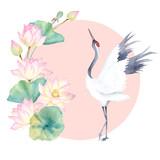 Akwarela dźwig z kwiatem lotosu. Japoński design. Ręcznie rysowane ilustracja - 175447903