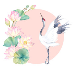 Naklejka Watercolor crane with flower lotus. Japanese design. Hand drawn illustration