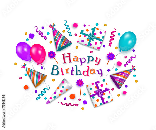Happy birthday greeting card banner poster design with realistic happy birthday greeting card banner poster design with realistic cake present box m4hsunfo