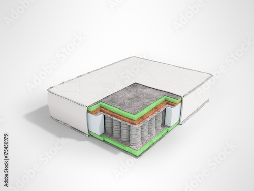 Orthopedic mattress in the section prospect 3D render on