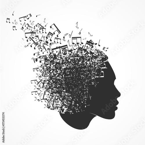 Leinwand Poster visage et notes de musique