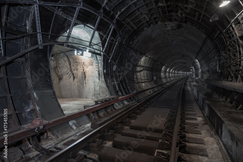 Underground tunnel. Rail way in a subway tunnel.